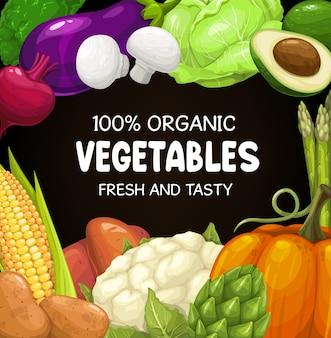 Verduras, verduras y verdor maíz, aguacate, brócoli con remolacha y repollo, calabaza. espárragos y alcachofas con patata, berenjena y setas. cartel de producción de mercado de granja ecológica