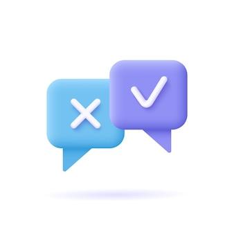Verificación del icono de reacción de la encuesta, bocadillo de diálogo de símbolos cruzados