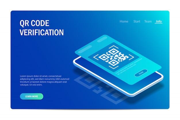 Verificación de qr. el teléfono móvil con escáner lee el código qr