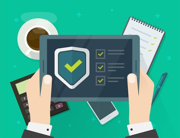 Verificación de seguridad lista de verificación tableta de prueba digital software protector en línea