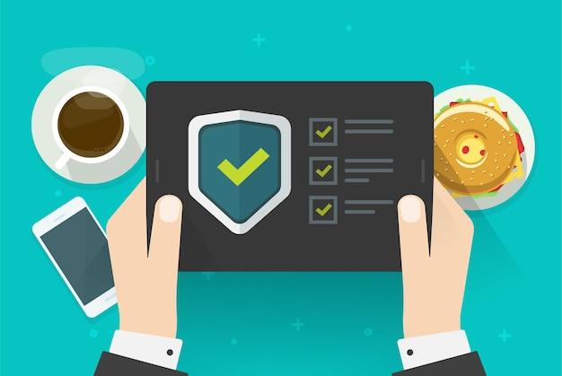 Verificación de seguridad, verificación, prueba digital en tableta, software, guardia en línea