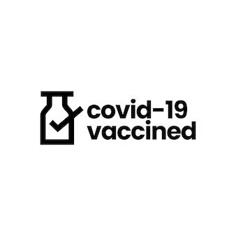 Verificación de vacunas me he vacunado plantilla de logotipo de covid 19