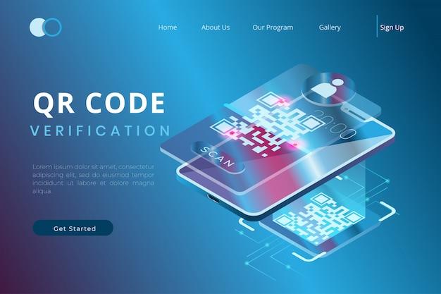 Verifique el código qr utilizando la aplicación en un teléfono inteligente con el concepto de páginas de destino isométricas y encabezados web