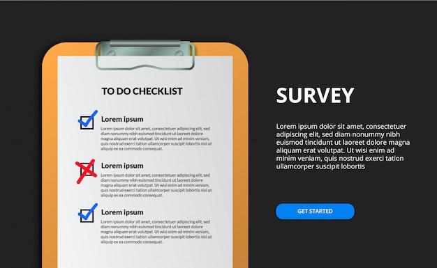 Verifique el concepto de tarea completa de la lista de tareas. encuesta en el documento del portapapeles. horario de planificación o regla.