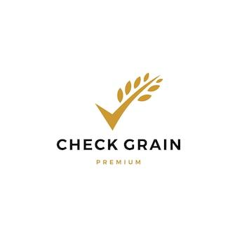 Verifique la plantilla de logotipo sin gluten verificada de la hoja de avena y grano
