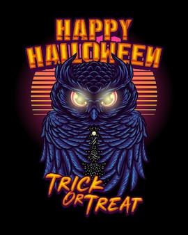 Versión de halloween de la noche del búho con dibujo a mano de ilustración de estilo retro