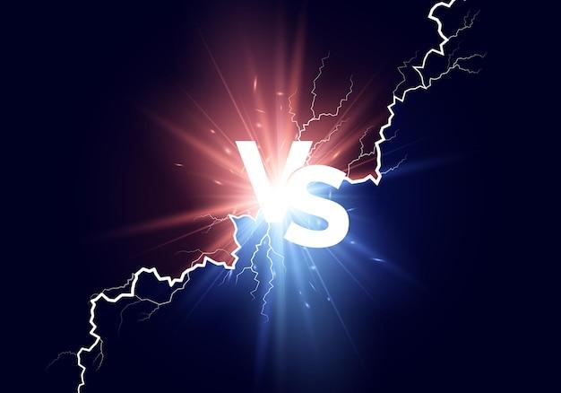 Versus antecedentes. luces azules y rojas con texto blanco vs.
