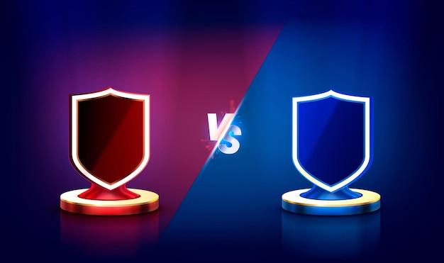 Versus banner de portada de juego deporte vs ilustración de concepto de equipo