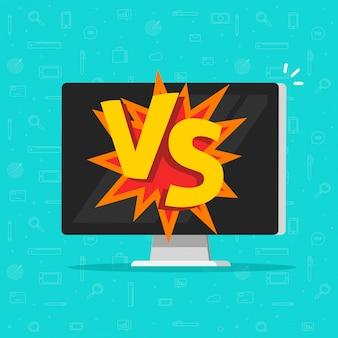 Versus batalla en computadora plana de dibujos animados