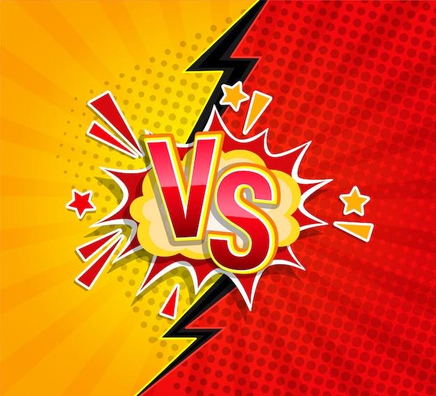 Versus concepto competitivo en estilo cómico.
