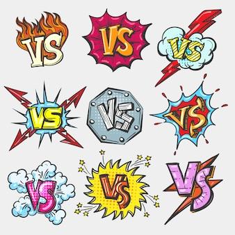 Versus conjunto de parches doodle