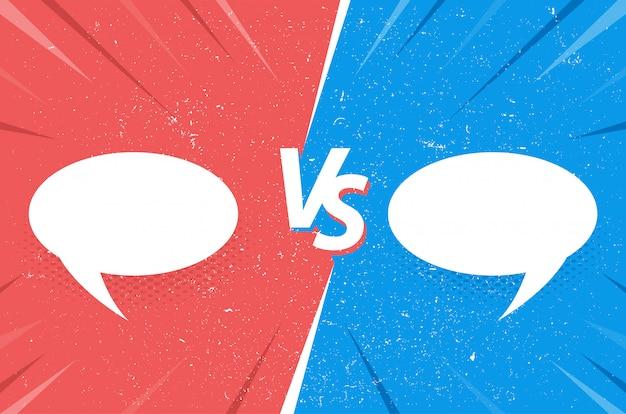 Versus fondo cómico con burbujas de discurso