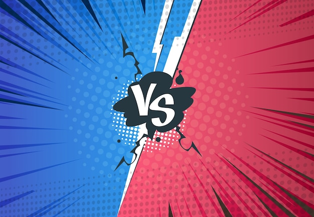 Versus fondo de cómics. batalla de arte pop de superhéroes, estilo de semitono de dibujos animados, plantilla de desafío vs retro. cartel de guerra versus arte de cómics