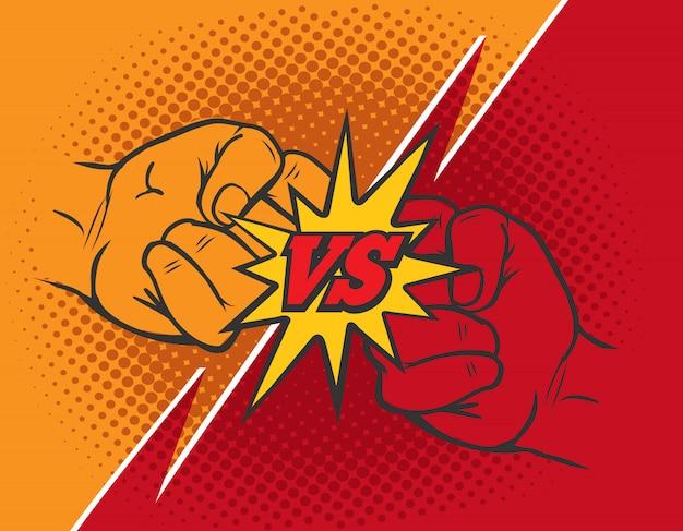 Versus fondo de puño de rivalidad