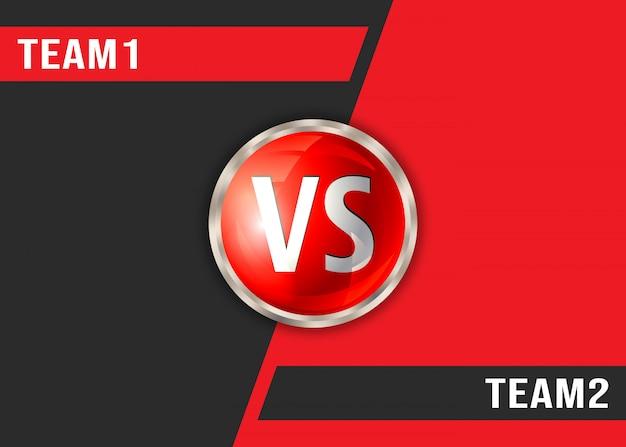 Versus fondo rojo y negro. plantilla de visualización de pantalla vs