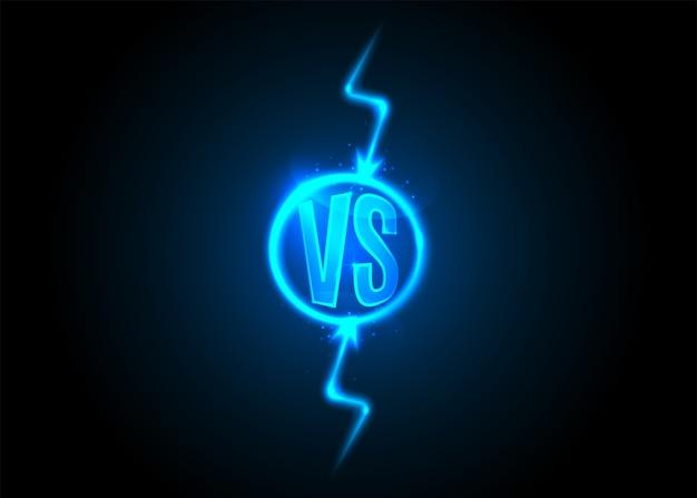 Versus icono. las letras vs están en círculo. rayo. trueno de dibujos animados de neón azul.
