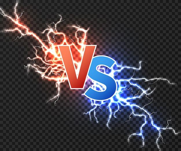 Versus ilustración con colisión de dos descargas eléctricas.
