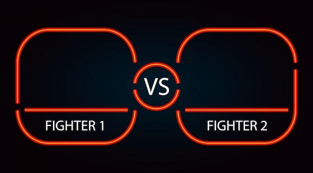 Versus marco de batalla rojo neón