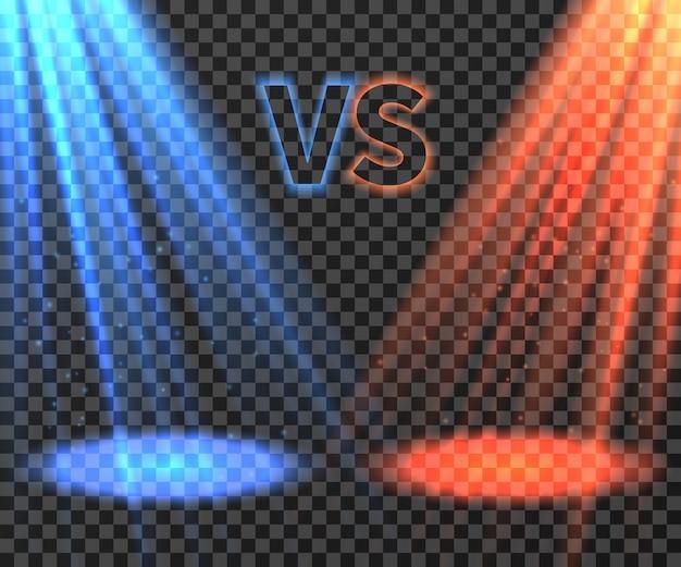 Versus pantalla futurista de batalla con ilustración de rayos de brillo azul y rojo
