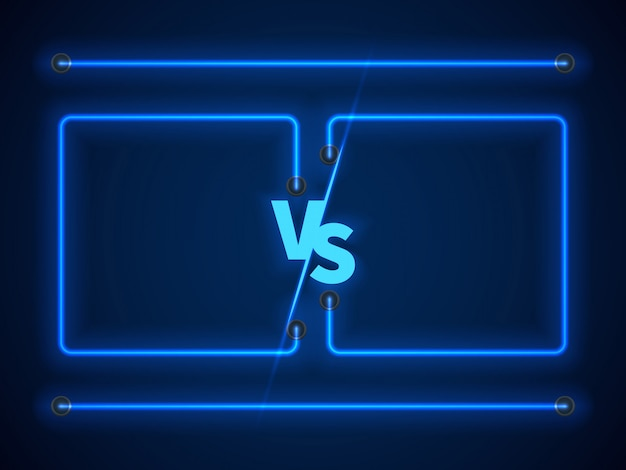 Versus pantalla con marcos de neón azul y letras vs. valores