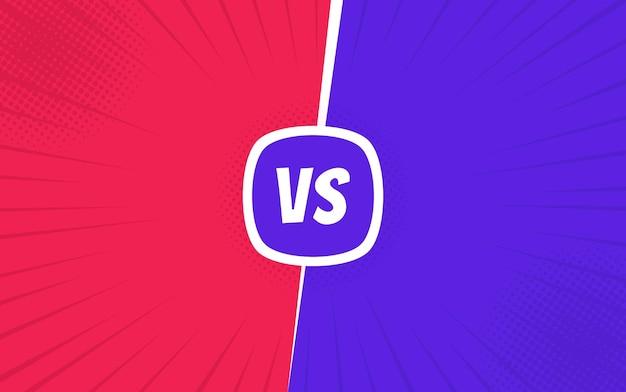 Versus pantalla. vs batalla. competencia de lucha de confrontación. fondo cómico de lucha retro. .