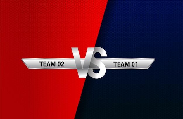 Versus pantalla. vs titular de batalla, duelo de conflicto entre los equipos rojo y azul. enfrentamiento lucha competencia. luchador de boxeo de artes marciales