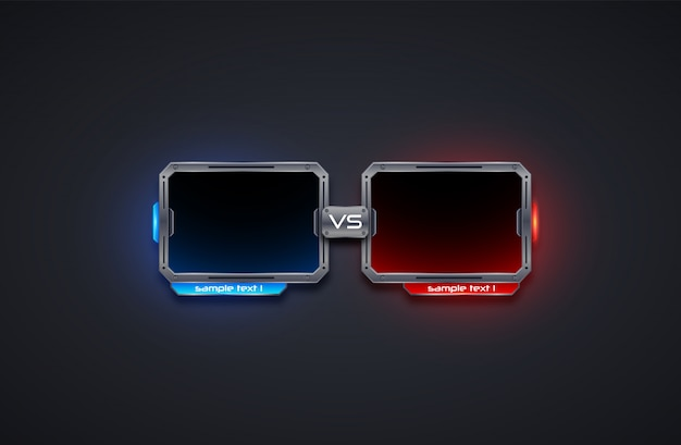 Versus plantilla de marco de diseño de pantalla, batalla, deporte, juego, lucha .ilustraciones futuristas.