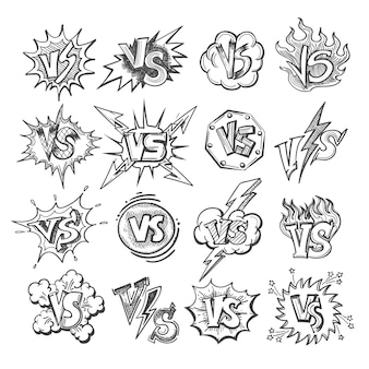 Versus sketch icon set