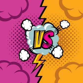 Versus vector de dibujos animados de cómic de fondo. lucha contra el campeonato de duelo de arte retro.