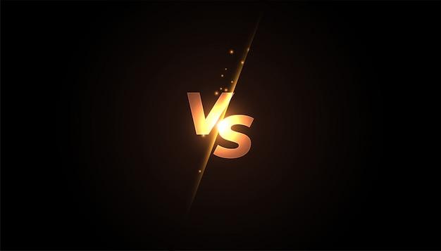 Versus vs banner de pantalla para batalla o comparación