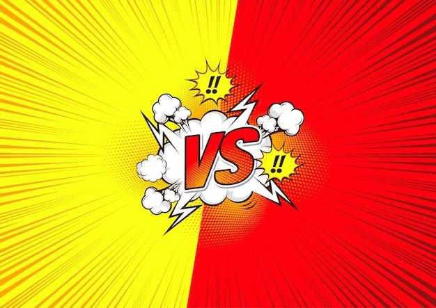 Versus vs, cómic de fondo de lucha.