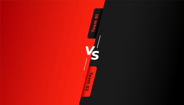 Versus vs fondo para el equipo rojo y negro