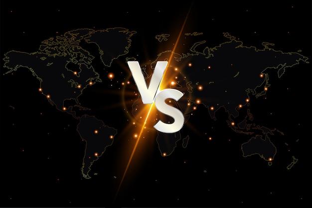 Versus vs fondo en el mapa del mundo.