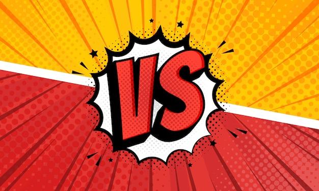 Versus vs letras en diseño de estilo cómic plano