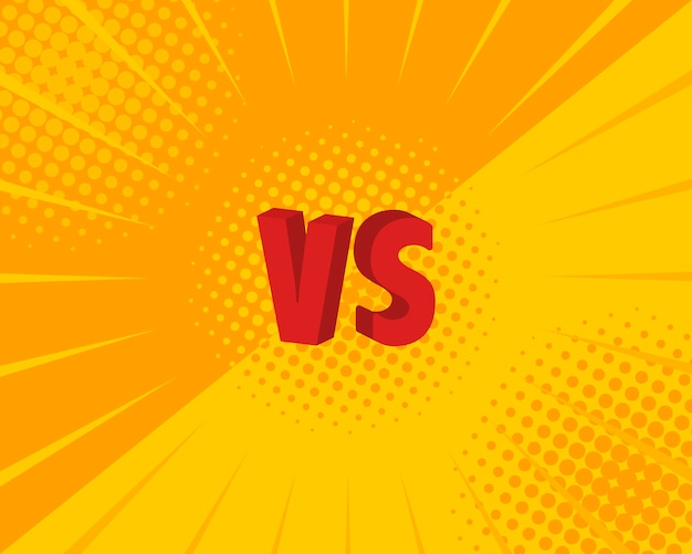 Versus vs letras pelea s en estilo cómic plano. ilustración