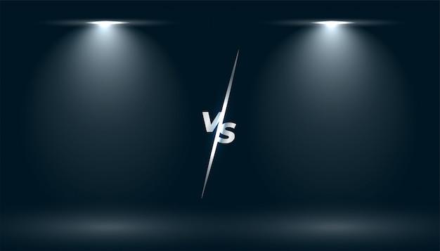 Versus vs pantalla con dos efectos de luz de enfoque
