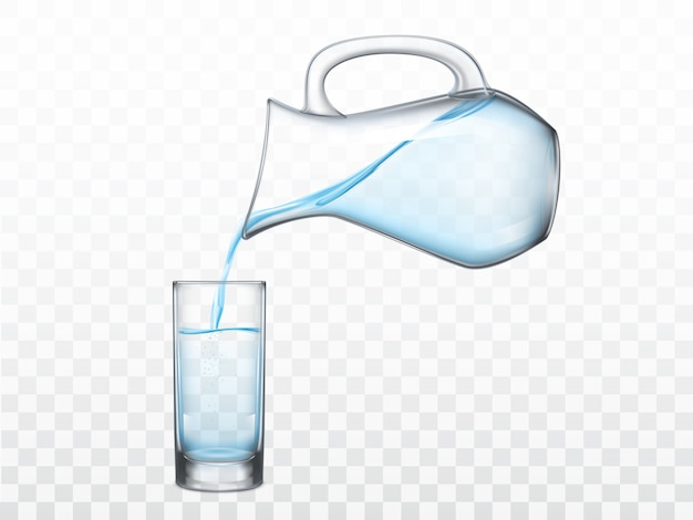Verter agua dulce de la jarra en vidrio vector
