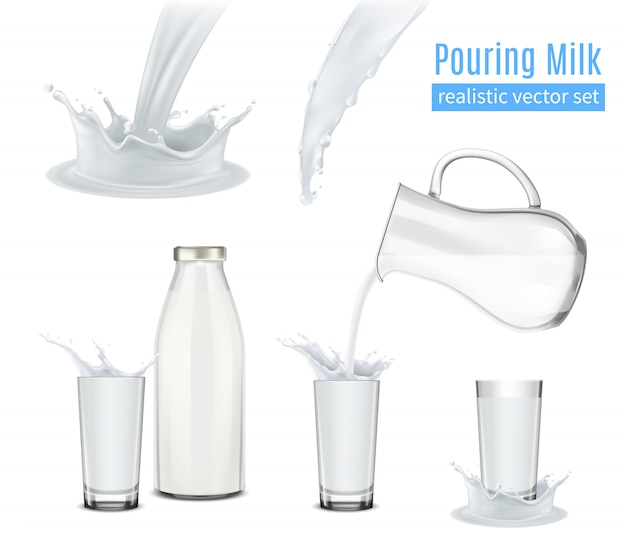 Verter la leche composición realista