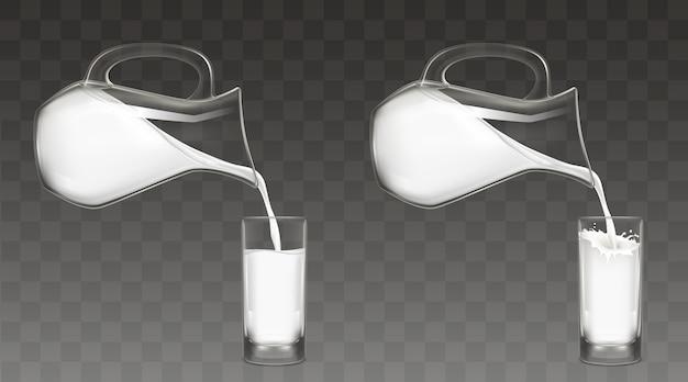 Verter la leche de la jarra en el vector de vidrio