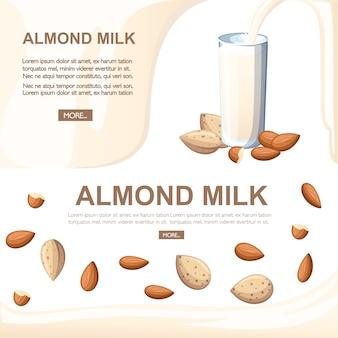 Verter en vaso de leche de almendras