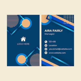 Vertical de tarjeta de visita de doble cara inmobiliaria