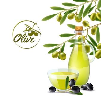 Vertidor del aceite de oliva con la rama del cartel decorativo del fondo de las aceitunas verdes
