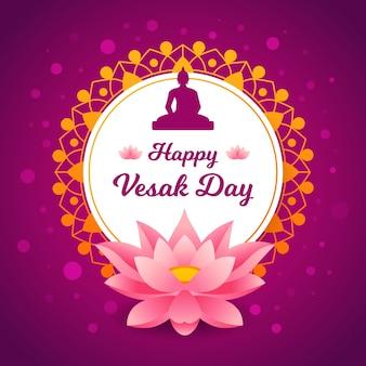 Vesak plano con flor de loto