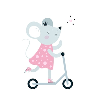 Vespa linda del paseo del ratón de los ratones del bebé