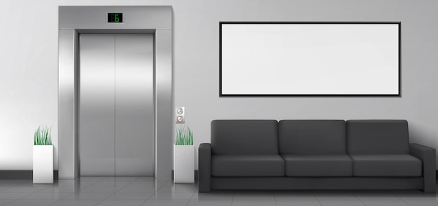 Vestíbulo de la oficina o del hotel con sofá elevador y póster blanco en la pared