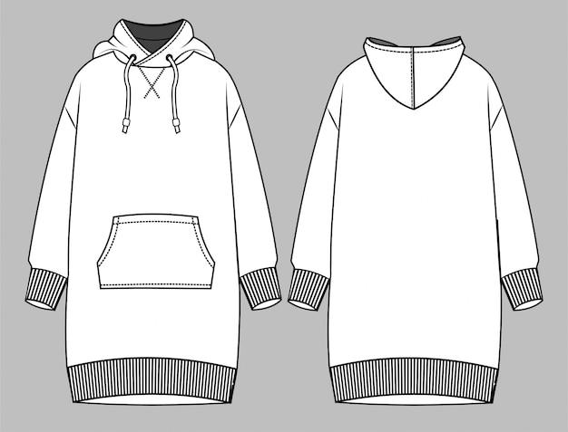 Vestido con capucha plantilla boceto plano de moda