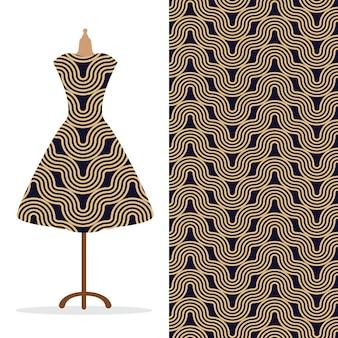 Vestido largo para mujer simulado con un patrón dibujado a mano sin costuras brillante para impresión de papel textil