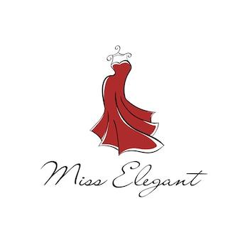 Vestido largo rojo sobre un logo de percha.