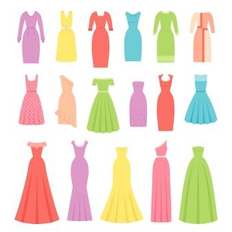 Vestido para mujeres, vestidos de noche, cóctel y negocios, conjunto de vestido y prenda aislado,