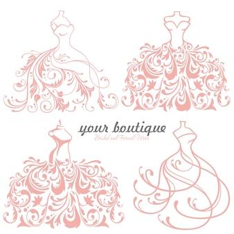 Vestido de novia de novia boutique logo set, colección